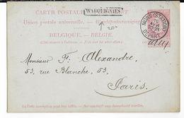 1904 - BELGIQUE - CARTE ENTIER De MONS GARE => PARIS Avec CACHET De TRANSIT De WARQUIGNIES - Marcophilie