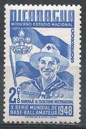 Nicaragua 1949. Scott #718 (M) Boy Scout, Badge, Flag - Nicaragua