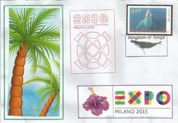 Royaume Des Tonga,Kingdom Of Tonga. Lettre Du Pavillon Des Tonga à L'EXPO UNIVERSELLE,avec Timbre Tonga Du Pavillon - 2015 – Milan (Italy)