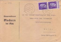Lettre à Entête Mairie De Maizières Les Metz (T329C Machern B Metz A) TP Reich (2x6pg=1°éch) Le 4/6/42 Pour Metz - Elsass-Lothringen