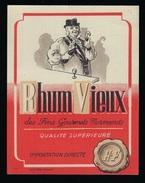 """étiquette Rhum  Vieux Des Fins Gourmets Normands  """"HF"""" Importation Directe   """"homme Chapeau Parapluie Bouteille Verre"""" - Rhum"""