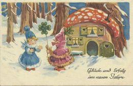 AK Neujahr / New Year - Wichtel / Elfen Vor Fliegenpilzhaus Color ~1930 #113 - Anno Nuovo