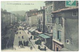 Cpa Gard, Saint Ambroix - Grande Rue ( Animée ) - France