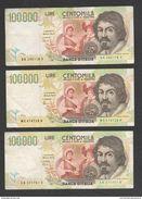 100.000 100000 Lire Caravaggio II° Tipo Repubblica Italiana 3 Banconote - [ 2] 1946-… : Républic
