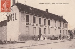 TRAINEL - L'HOTEL DU CHEVAL BLANC - MAISON DESVIGNES - SUPERBE CARTE - SEPIA -TRES ANIMEE - ATTELAGE -  TOP !!! - Altri Comuni