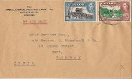 MARCOPHILIE LETTRE CEYLON CEYLAN DE 1949 COLOMBO TP NO 255 YT - Sri Lanka (Ceilán) (1948-...)