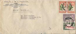MARCOPHILIE LETTRE CEYLON CEYLAN DE 1949 COLOMBO TP NO 253 259 ET 260 YT - Sri Lanka (Ceylan) (1948-...)