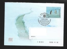 ARGENTINA  2099 PRESTAMP ENVELOPE TRAVELLED PINGUINS  WITH BOOKLET POLAR GLACIERS - Affrancature Meccaniche/Frama