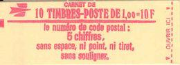 FRANCE - BOOKLET / CARNET, Yvert 1892-c2a, 1976, 10 X 1.00 Marianne De Béquet - Usage Courant