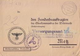 Lettre De Meisenthal (T329 Meisenthal Westmark A) En Franchise Le 18/8/43 Pour Metz + Cachet Oberkommando... - Postmark Collection (Covers)
