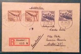 OLIMPIADI  GERMANIA 1936  ALTI VALORI OLIMPICI SU RACCOMANDATA DA DÜSSELDORF A ANGLES FRANCE IN DATA 28/7/36 - Estate 1924: Paris