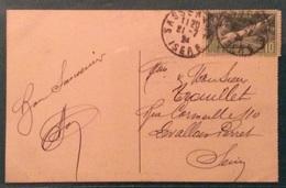 OLIMPIADI  FRANCIA 1924 IL VALORE DA 10 FR. DELLA SERIE OLIMPICA ISOLATO SU CARTOLINA DEL 21/7/24 - Estate 1924: Paris