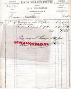 87- LIMOGES- RARE FACTURE 1859- LOUIS VIELLEMARETTE  DE B. DELIGNERES- CHAUDRONNERIE-CHAUDRONNIER-6 RUE MONTANT MANIGNE - 1800 – 1899
