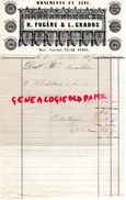 75- PARIS- RARE FACTURE H. FUGERE & L. GRADOS- ORNEMENTS EN ZINC-62 RUE AMELOT- 1857 - 1800 – 1899