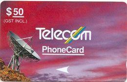 New Zealand - Violet & Red - Satellite - 3NZLE - 1990, 50$, 26.400ex, Used - New Zealand