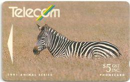 New Zealand - Zebra Animal - 1991, 5$, 100.000ex, Used - New Zealand