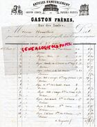 87- LIMOGES- RARE FACTURE MANUSCRITE SIGNEE GASTON FRERES- RUE DES TAULES- ARTICLES AMEUBLEMENT-PAPIERS PEINTS-1864 - 1800 – 1899