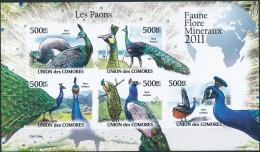 [38554]Comores 2011 - BL2150/2154, Les Paons, Animaux & Faune, Oiseaux. - Peacocks