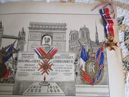 DIPLOME Croix De Commandeur -  ASSOCIATION FRANCO-BRITANNIQUE- - France