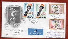 OLIMPIADI  ROMA 1960 EMISSIONE OLIMPICA DEL GHANA SU BUSTA PAR AVION PER GLI USA IN DATA 15/8/60 - Estate 1924: Paris