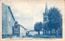 RARE CPA Meilhan-sur-Garonne Grande Rue Et Place De L'église M1199 - Meilhan Sur Garonne