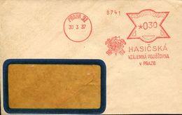 29304 Ceskoslovensko, Red Meter/freistempel/ema/praha 1938 Hasicska, Circuled Cover - Briefe U. Dokumente