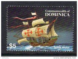 DOMINICA - 1984 $5 SHIPPING SANTA MARIA STAMP EX SG MS894 FINE MNH ** - Dominica (1978-...)