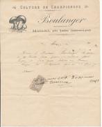 Facture 1910 - Beaulieu Les Loches, Indre Et Loire - Boulanger, Culture De Champignons - 1900 – 1949