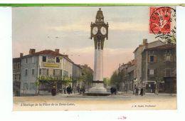 CPA-69-1908-TASSIN LA DEMI-LUNE-L'HORLOGE DE LA PLACE-ANIMEE-PERSONNAGES-LE CAFE RITON- - France