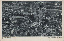 AK Magdeburg Der Dom Mit Der Elbe Dampfer Aus Deutschen Landen Luftbild Fliegeraufnahme Flugzeugaufnahme Aerial View - Magdeburg