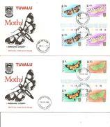 Papillons( 2 FDC De Tuvalu De 1980 Avec Timbres Interpanneaux à Voir) - Schmetterlinge