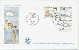 GREENLAND 1994 Native Mammals II On FDC.  Michel 249-51 - FDC