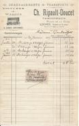 Facture 1915 - Loches, Indre Et Loire - Ch. Ripault Doucet - Déménagements, Transports - 1900 – 1949