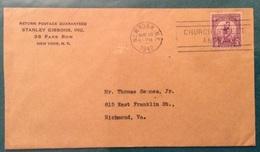OLIMPIADI  LOS ANGELES 1932 IL  3 CENTS ISOLATO SU BUSTA DA NEW YORK  A RICHMOND IN DATA 13/5/1942 ..10 Anni Dopo... - Estate 1924: Paris