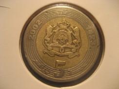 5 2002 MOROCCO Bimetallic Coin Maroc Marruecos - Marruecos