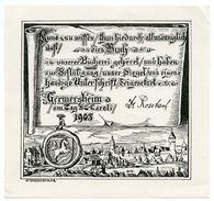 BOOKPLATE : EX LIBRIS - GERMERSHEIM - TAG ST CAROLI 1905... (ARTIST : H. GUGGENBICHLER??) - Bookplates