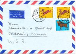 Germany Air Mail Cover Sent To USA Bremen 8-1-1967 Topic Stamps - [7] République Fédérale