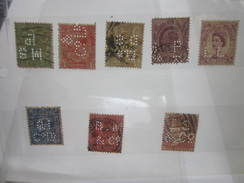 8 Timbres Great-britain UK Royaume-uni Perforés Perforé Perforés Perfin Perfins Stamp Perforated Perforations Diverses - Great Britain