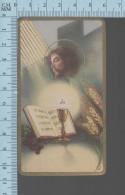 NB 1080 - Gold Print -  Et Panis Patio..., Christ En Croix Communion- Holy Card, Image Sainte Pieuse, Santini - Devotion Images
