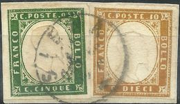 SARDEGNA 1863 5 C .verde + 10 C. Bistro Su Frammento SIENA - Sardinia