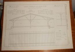 Plan D'un Hangar Couvert En Papier Bitumé. Chemin De Fer De Lyon. Gare De Paris. 1857. - Public Works