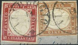 SARDEGNA 1863 10 C. Bistro + 40 Cent. Vermiglio Su Frammento VIAREGGIO - Sardinia