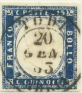 SARDEGNA 1863 15 C. TODI Signed Vaccari - Sardegna