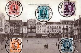 RRR! CHARLEROI - Place Du Sud, Karte Mit 5 Facher Frankierung Auf Vorderseite Gel.1924, Stempel Charleroy - 1921-1925 Petit Montenez