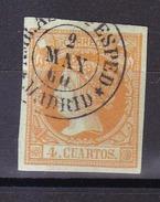 Año 1860 Edifil 52 4c Sello Isabel II Matasellos Amb Asc 2Exp Madrid - 1850-68 Royaume: Isabelle II
