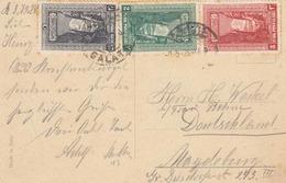 TÜRKEI ... RRR! 3 Sondermarken Auf Ak Constantinople, Palais Du Dolma, Bagtche, Bosphore 1928 - Türkei