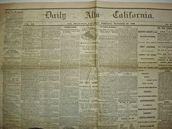 Rare Antique Newspaper DAILY ALTA CALIFORNIA 1868. Franklin House, Earthquake... - 1850-1899