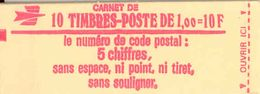 FRANCE - BOOKLET / CARNET, Yvert 1972-c2a, 1977, 10 X 1.00 Sabine - Carnets
