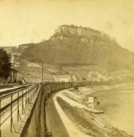 Allemagne Forteresse  Festung Königstein Riviere Elbe Ancienne Stereo Photo 1870 - Photographs