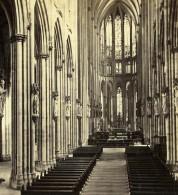 Allemagne Cologne Koln Interieur De La Cathedrale Ancienne Stereo Photo Eisen 1880 - Photographs
